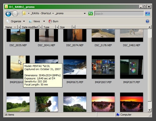 Thumbnail view in a directory with RAW images.